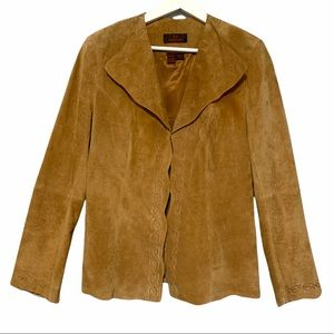 Danier Suede Jacket with Embroidered Trim in Tobacco